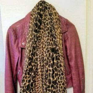 Set of 2 brown black leopard print scarves